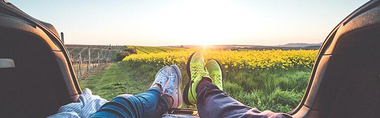 Two people sitting in the back of a car watching the sunset over a field